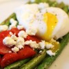 Sauteed Asparagus with Poached Eggs, Tomatoes & Goat Cheese