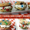 M&M Cookie Ice Cream Sandwiches with Greek Yogurt and Ice Cream