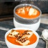 Fire-Roasted Tomato and Red Pepper Soup with Grilled Cheese Croutons