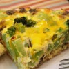 Broccoli, Mushroom & Cheddar Quiche with a Brown Rice Crust