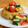 Chickpea & Brown Rice Veggie Burgers with Tomato Salad