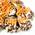 Mint Chocolate Dipped Pretzels