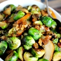 Sauteed Brussels Sprouts with Pears, Golden Raisins & a Sweet Glaze
