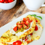 Caprese Omelette with Tomatoes, Pesto & Mozzarella