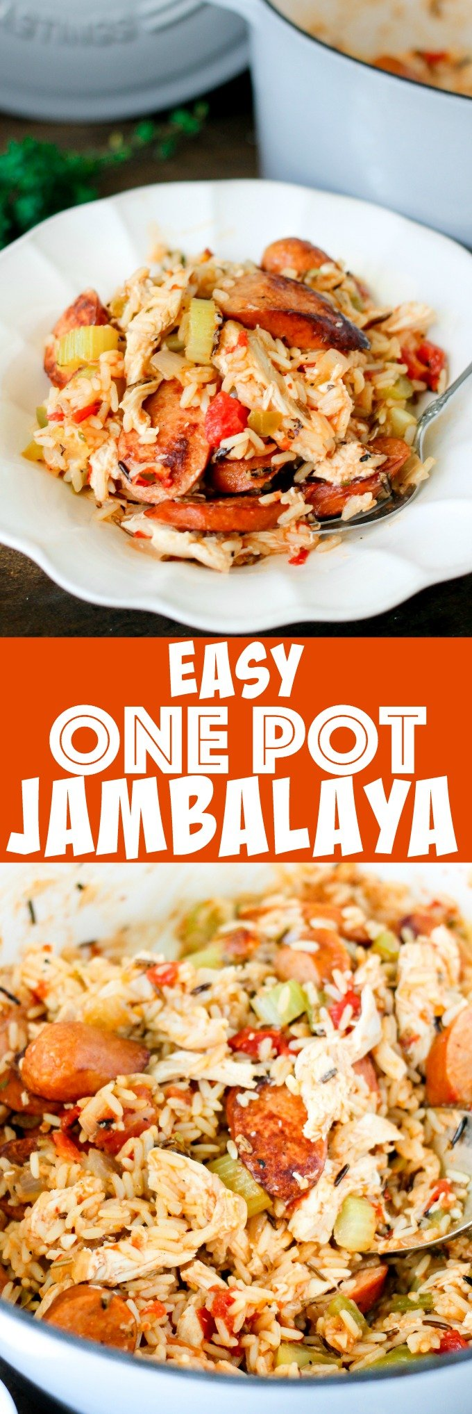 One Pot Jambalaya is full of chicken, andouille sausage, bell peppers, and spices! Only a few minutes of prep time to whip up this New Orleans favorite!