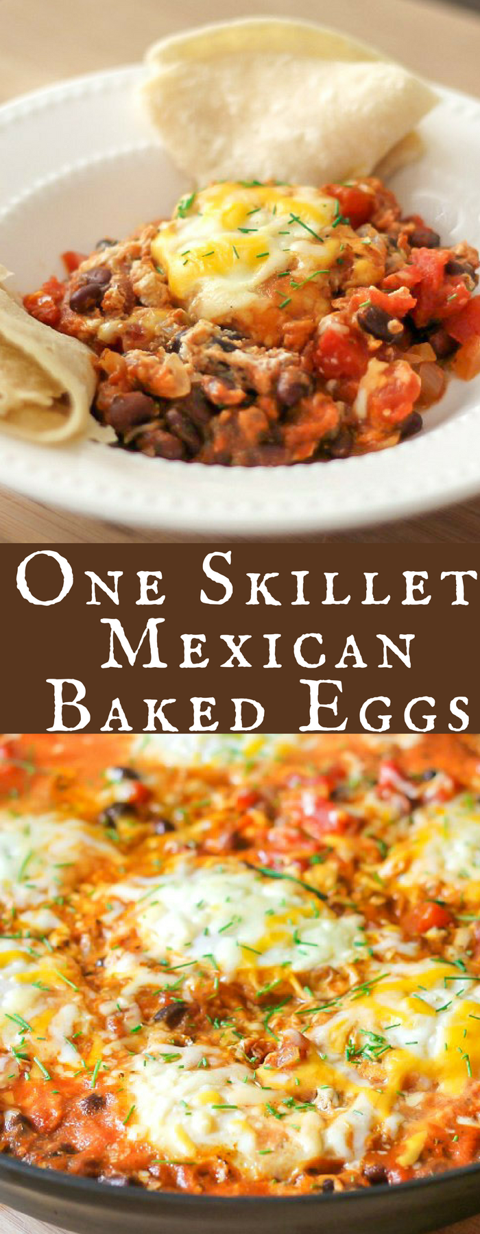 Mexican Baked Eggs are cooked in one skillet and make a delicious breakfast or dinner! Low calorie and high protein, it's the perfect healthy meal.