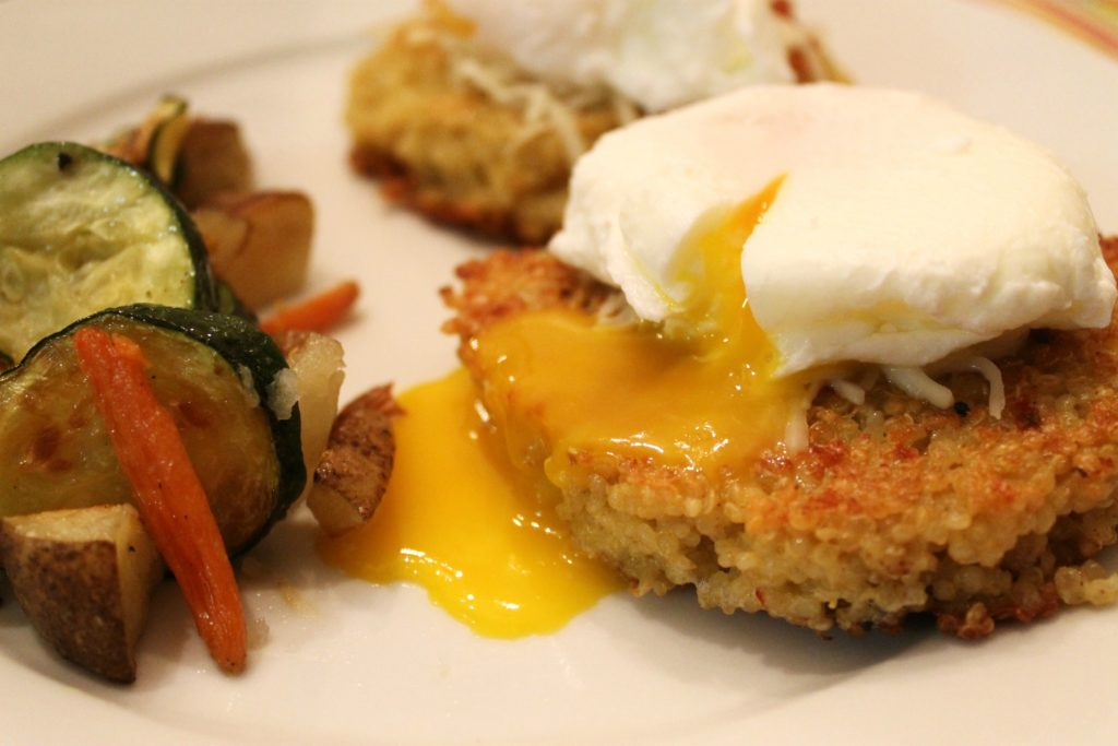 Quinoa Cakes with Poached Eggs & Roasted Vegetables - Domestic ...