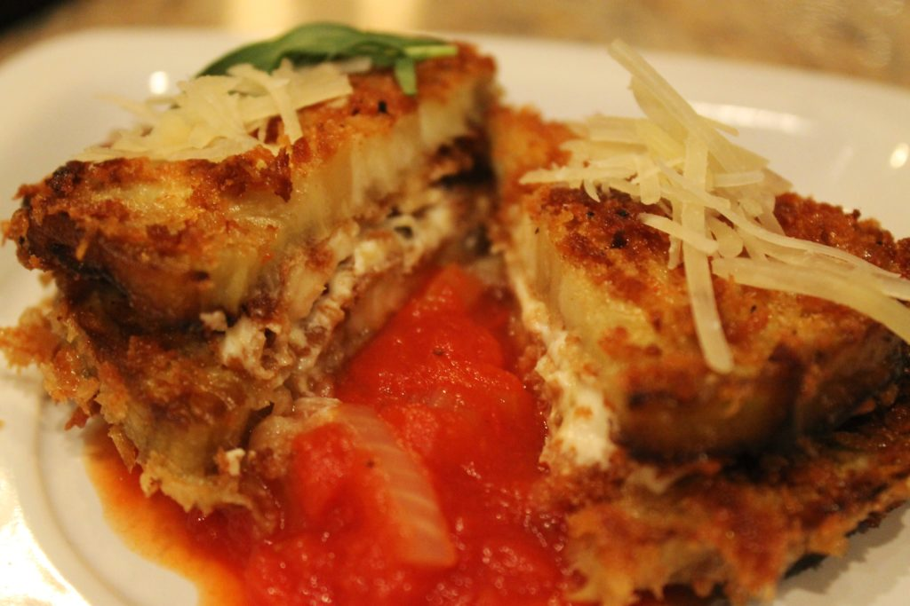 Eggplant & Goat Cheese Sandwiches with Tomato Tarragon Sauce