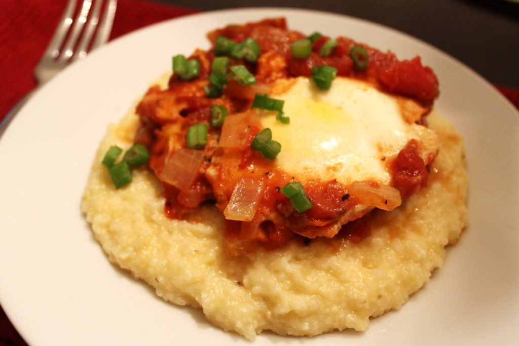 Salsa Poached Eggs & Cheese Grits