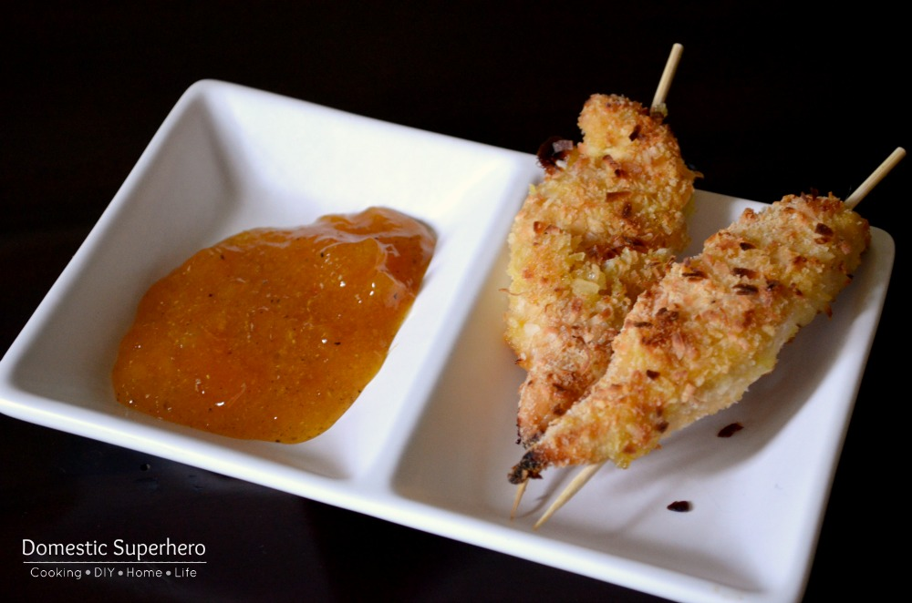 Healthy Coconut Chicken Fingers with Peach Curry Dip