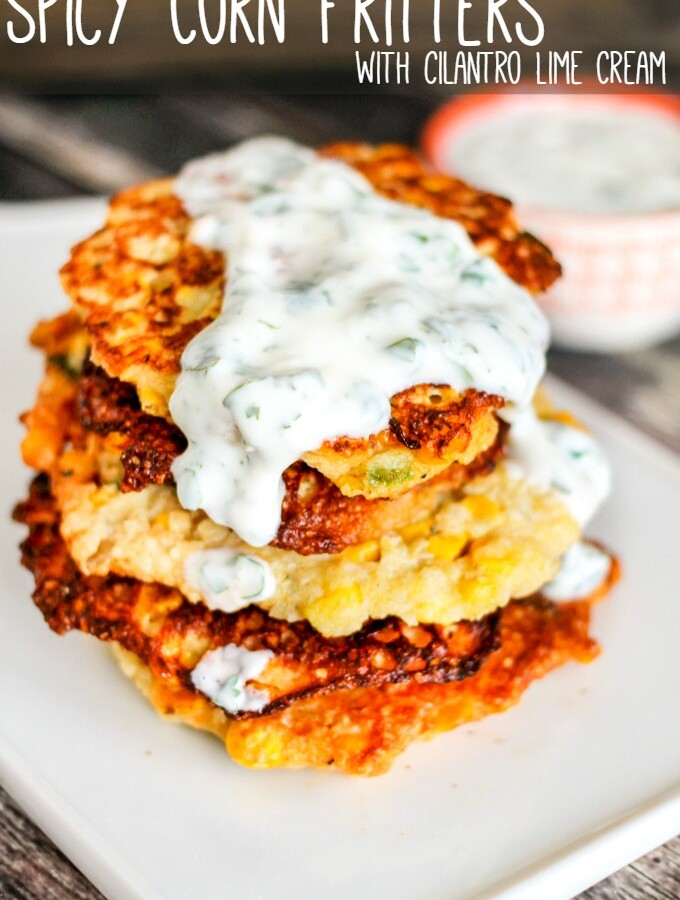 Spicy Corn Fritters with Cilantro Lime Sauce