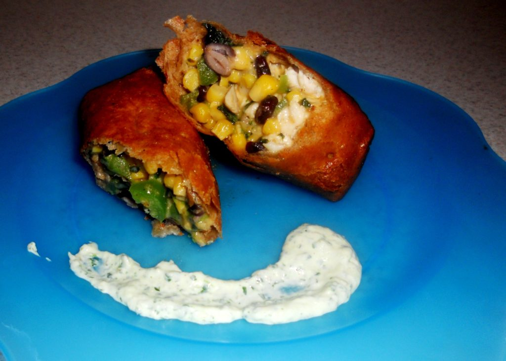 Guest Blog: Southwestern Chicken Egg Rolls with Amy's Cilantro Sauce