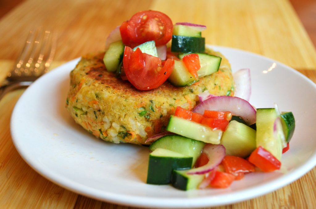 Chickpea & Brown Rice Veggie Burgers with Tomato Salad ...