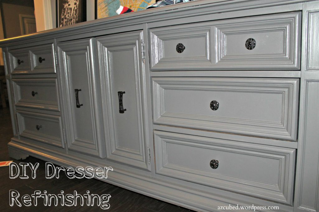 Diy dresser turned tv console with tutorial domestic superhero - Refinishing furniture ideas painting ...