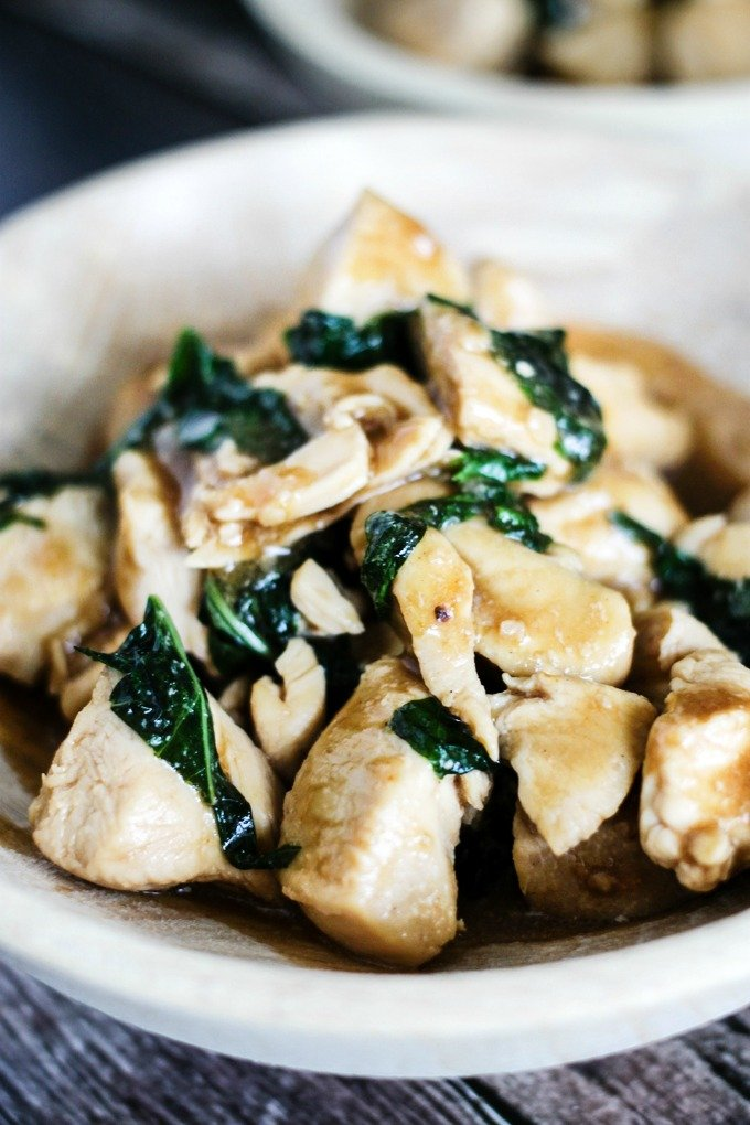 One Pot Spicy Basil Chicken boasts a delicious spicy sauce, comes together in a few short minutes, and is also healthy- it's the perfect dinner!