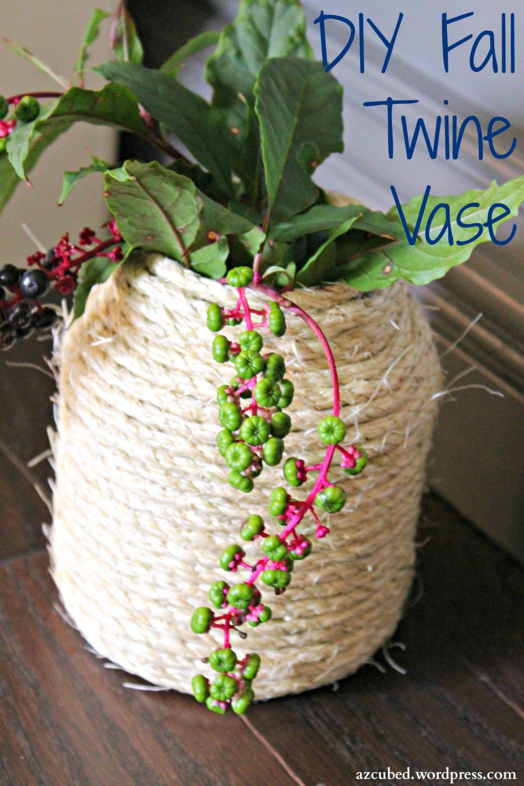 DIY Fall Twine Vase
