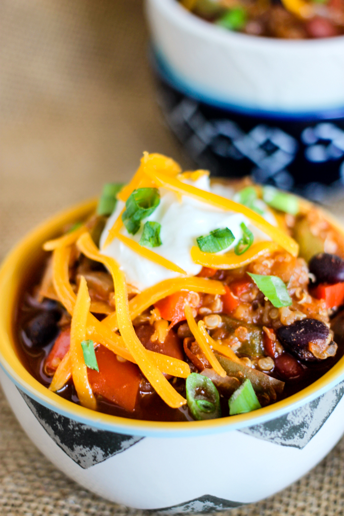 One Pot or Crock Pot Loaded Quinoa Chili is the perfect healthy vegetarian chili that will satisfy even the pickiest meat eater!