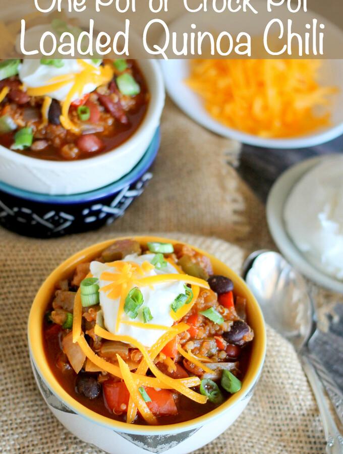 One Pot or Crock Pot Loaded Quinoa Chili