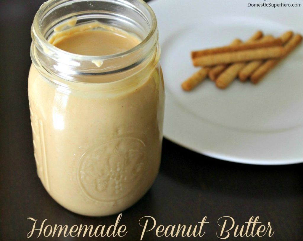 Homemade Peanut Butter in a canning jar {Domestic Superhero}
