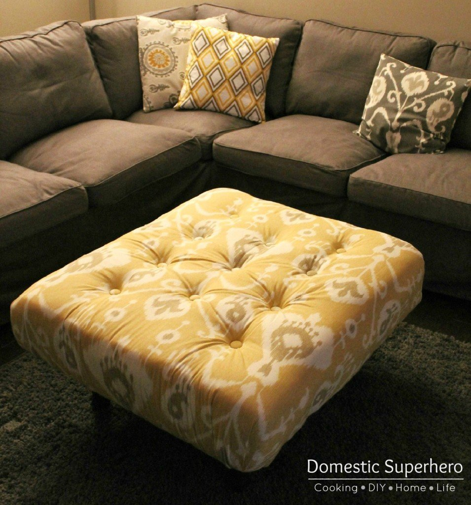 diy tufted ottoman made from a pallet only 70 for this huge ottoman great