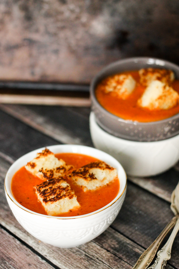 Fire-Roasted Tomato and Red Pepper Soup with Grilled ...