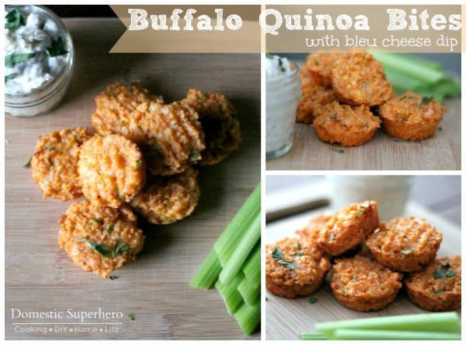 Buffalo Quinoa Bites with Bleu Cheese Dip