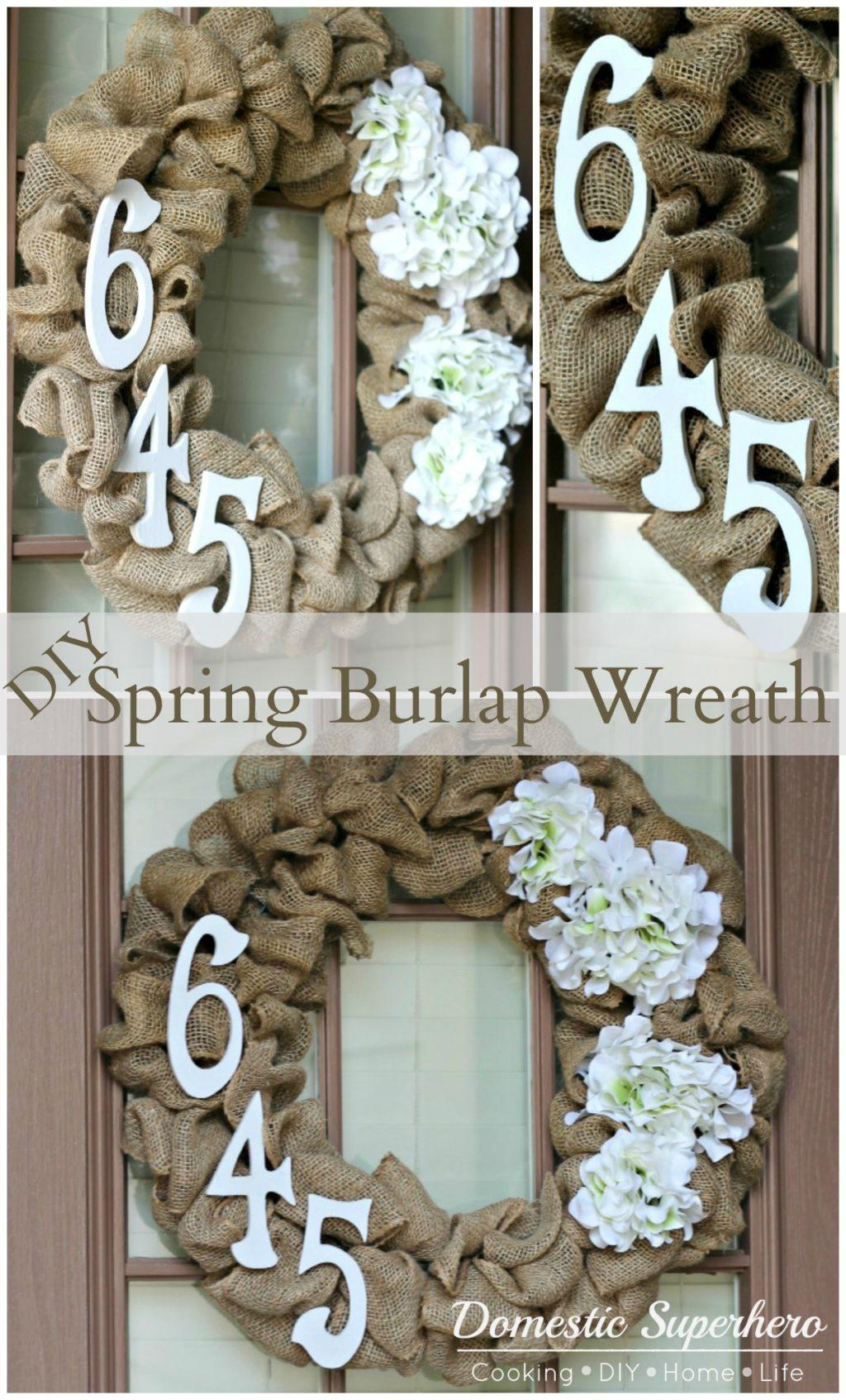Diy spring burlap wreath domestic superhero for How to make door wreaths for spring