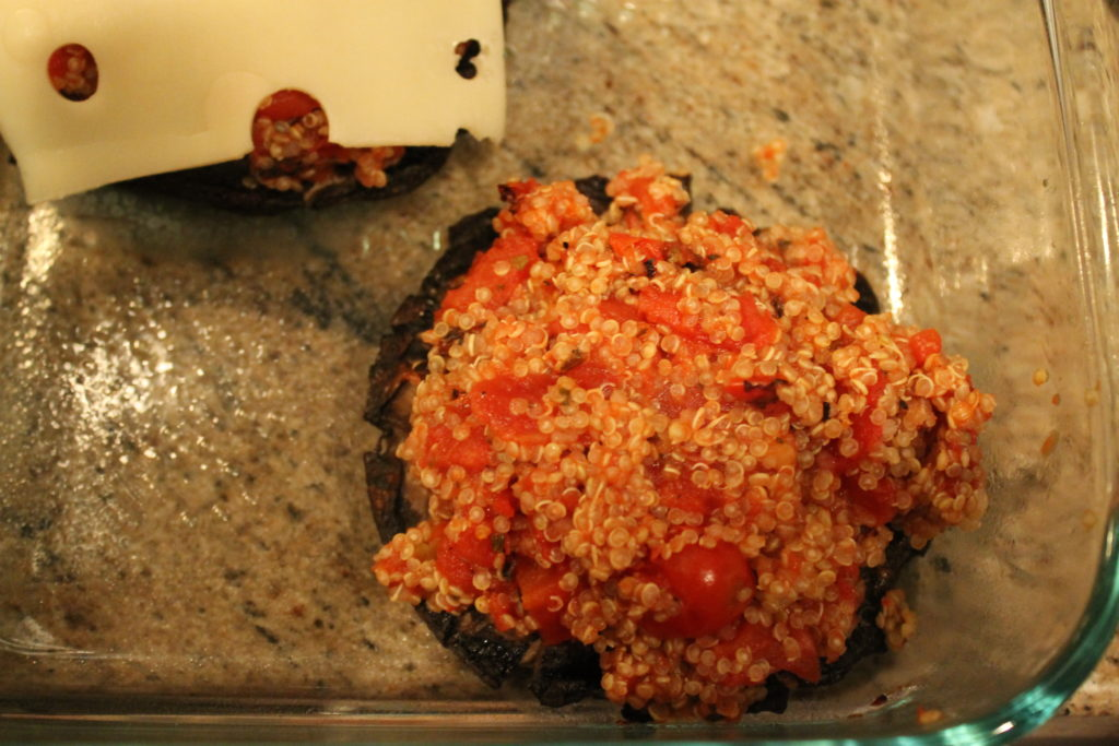 Quinoa & Tomato Stuffed Portabella Mushrooms