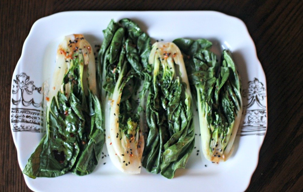 Spicy Steamed Bok Choy is the perfect easy side dish. Taking less than 5 minutes to make, it's quick, easy, and packs a punch of flavor!