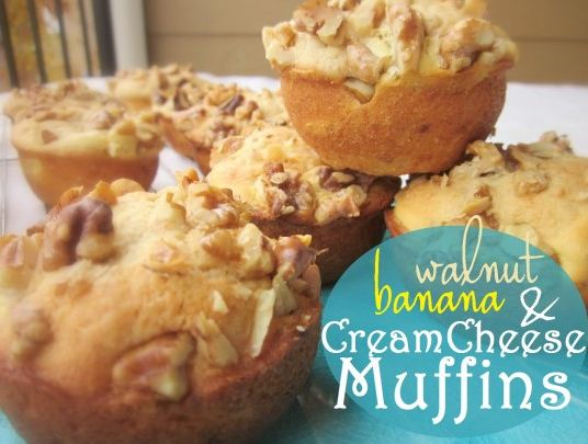 Banana and Walnut cream cheese muffins