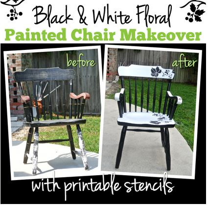 Makeover an old, beat-up chair into a gorgeous modern piece of home decor. (stencils provided)