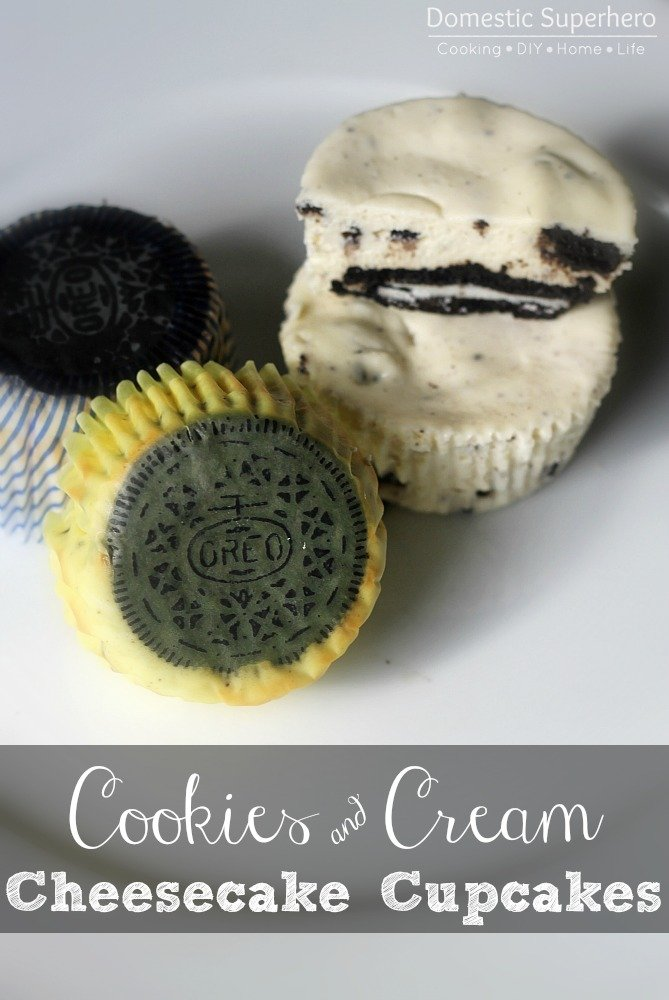 cookies and cream cheesecake cupcakes • domestic superhero