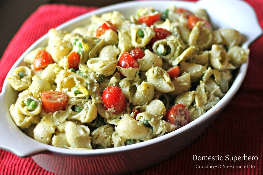 Creamy Pesto Pasta Salad with Artichokes, Tomatoes, and Peas 3