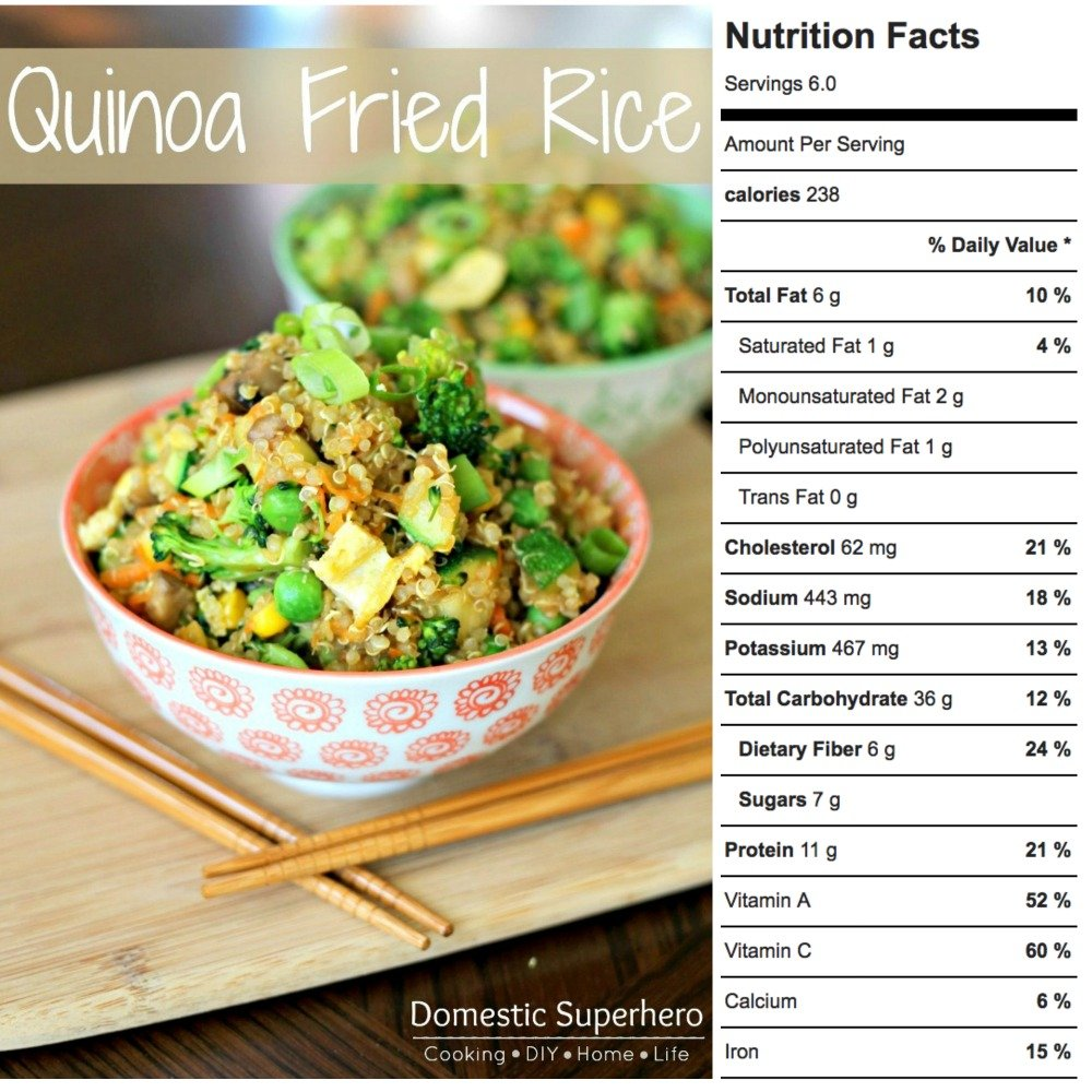 Quinoa Fried Rice is the perfect lower carb make-at-home version of classic fried rice. Made in one pot and loaded with broccoli, eggs, mushrooms, carrots, peas, corn, it's the perfect easy healthy meal or side dish.