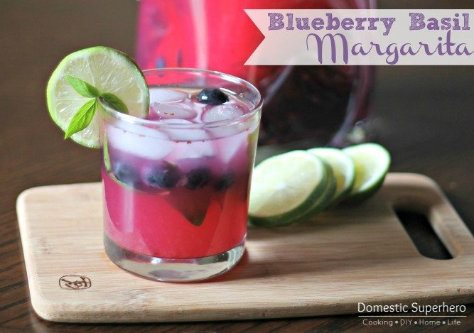 Blueberry Basil Margaritas - only a few ingredients and super delicious!