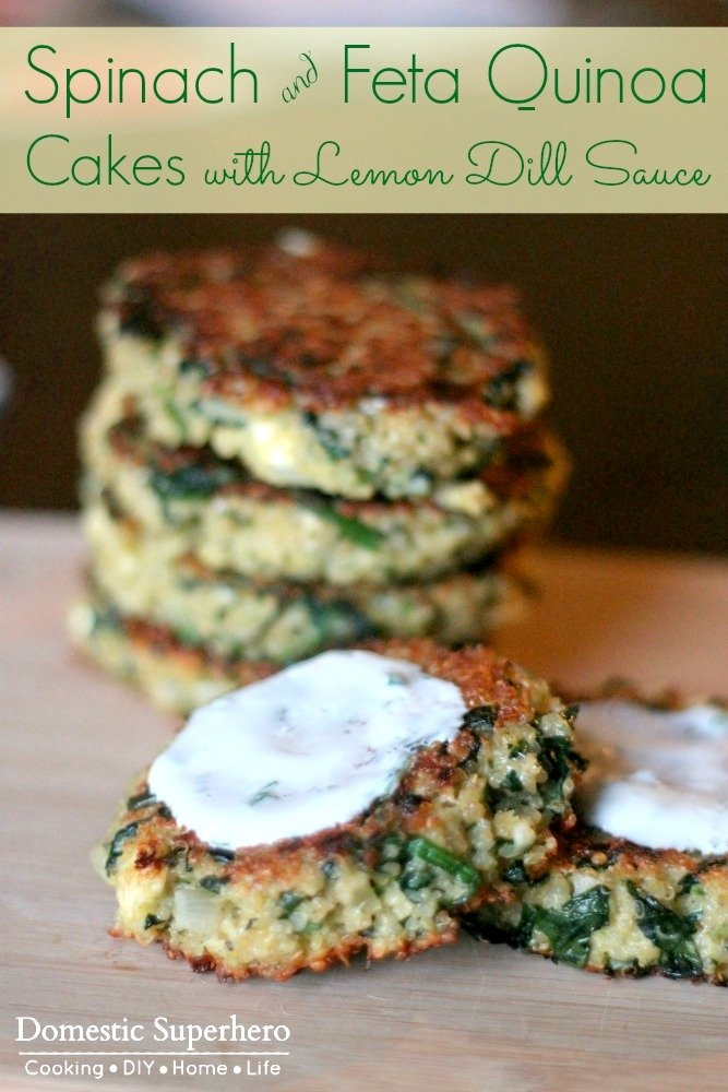 Spinach and Feta Quinoa Cakes with Lemon Dill Sauce 2