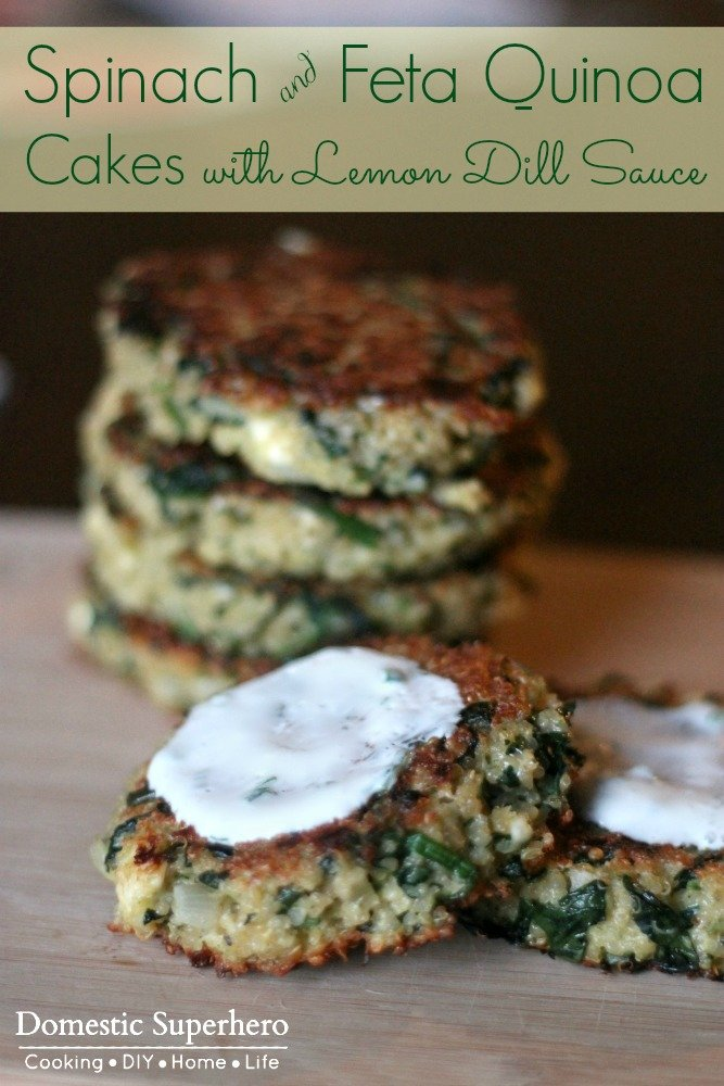 Spinach and Feta Quinoa Cakes with Lemon Dill Sauce by Domestic ...
