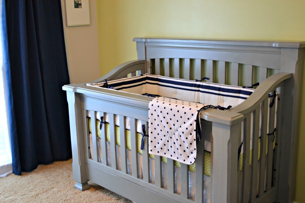 DIY Nursery Wall Art and a Nursery Tour - OMG I LOVE THIS GRAY CRIB!!