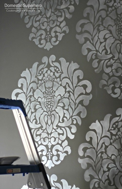 Dining Room Makeover with Grand Damask Stencil