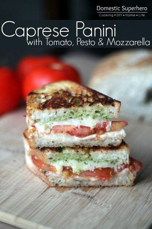 Caprese Panini with Tomato, Pesto, and Mozzarella