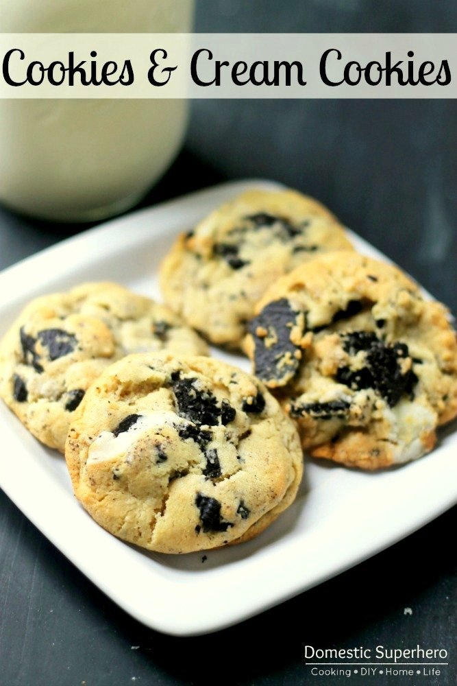Cookies & Cream Cookies are a delightful sugar cookie with chunks of Oreos baked into them. Not too sweet and not too bland, perfect for potlucks, dessert, and class parties!