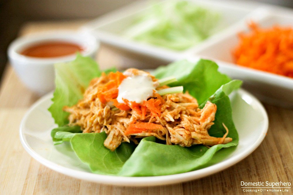 Slow Cooker Buffalo Chicken Lettuce Wraps are healthy, easy to make, and pack a ton of flavor! With tons of protein and barely any carbs, it's the perfect healthy recipe!