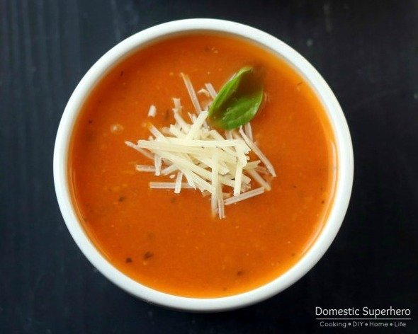 This lightened up Tomato Basil Soup has minimal ingredients and only 115 calories per two cup serving!