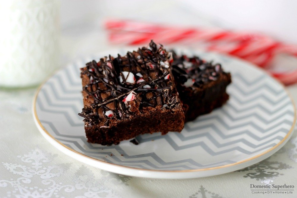 Dark Chocolate Candy Cane Brownies Recipe — Dishmaps