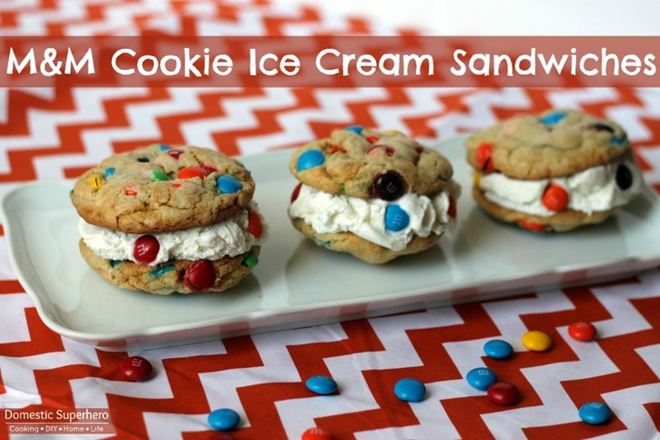 M&M Cookie Ice Cream Sandwiches with Greek Yogurt and Ice Cream #BakingIdeas #cbias #shop