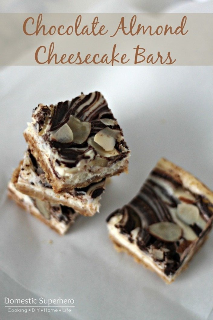 Chocolate Almond Cheesecake Bars #HolidayButter #Cbias #Shop