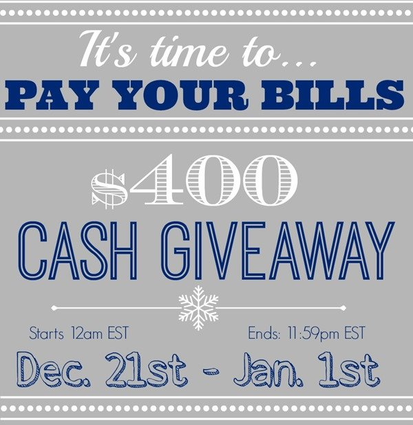 $400 Cold Hard Cash Giveaway at Domestically-Speaking.com