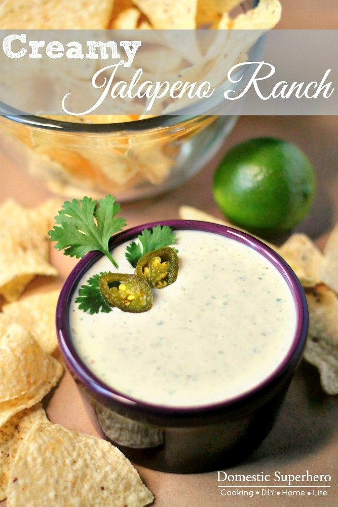 Creamy Jalapeno Ranch - this is the perfect dip to accompany salad or chips, or anything!