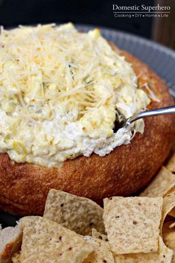 Hot and Cheesy Artichoke Dip 3