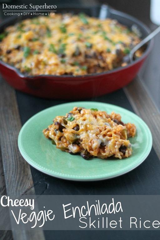 Cheesy Veggie Enchilada Skillet Rice